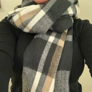 Oversized black, white, and beige plaid scarf